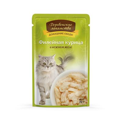 Деревенские лакомства Консервы для кошек «Филейная курица в нежном желе» , 0,070 кг