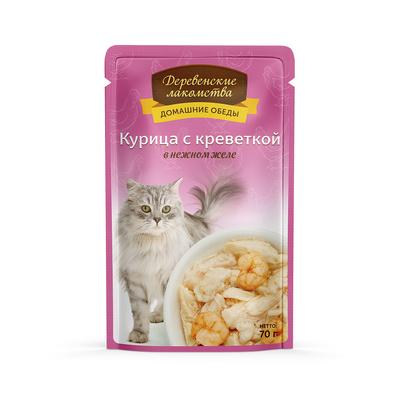 Деревенские лакомства Консервы для кошек «Курица с креветкой в нежном желе» , 0,070 кг
