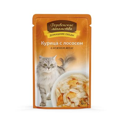 Деревенские лакомства Консервы для кошек «Курица с лососем в нежном желе» , 0,070 кг