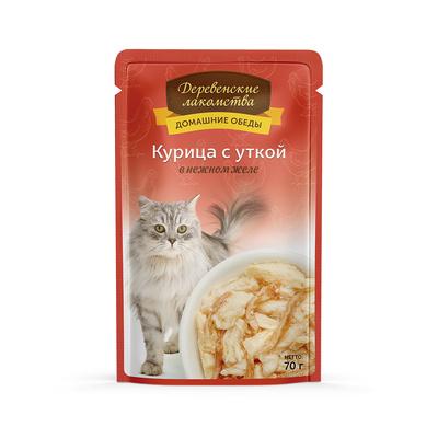 Деревенские лакомства Консервы для кошек «Курица с уткой в нежном желе» , 0,070 кг