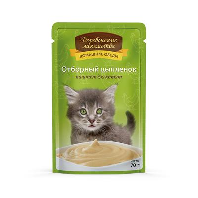 Деревенские лакомства Консервы для кошек «Отборный цыпленок паштет для котят» , 0,070 кг
