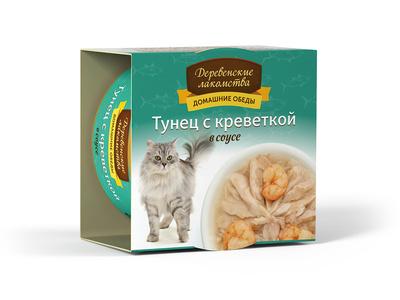 Деревенские лакомства Консервы для кошек «Тунец с креветкой в соусе» , 0,080 кг