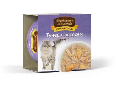 Деревенские лакомства Консервы для кошек «Тунец с лососем в соусе» , 0,080 кг