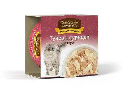 Деревенские лакомства Консервы для кошек «Тунец с курицей в соусе» , 0,080 кг