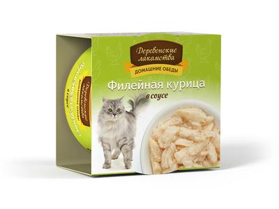 Деревенские лакомства Консервы для кошек «Филейная курица в соусе» , 0,080 кг