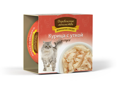 Деревенские лакомства Консервы для кошек «Курица с уткой в соусе» , 0,080 кг