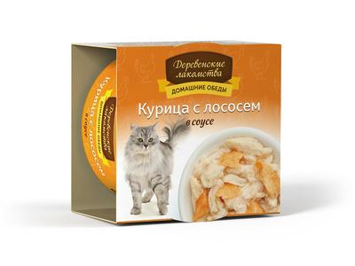 Деревенские лакомства Консервы для кошек «Курица с лососем в соусе» , 0,080 кг