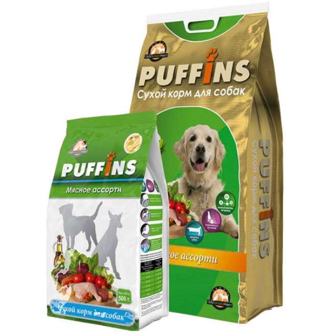 Puffins сухой корм длЯ собак обак 500гр Мясное ассорти 116