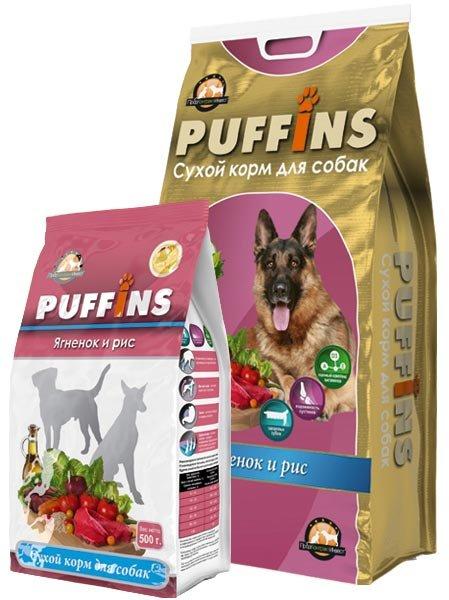 Puffins сухой корм длЯ собак обак 500гр Ягнёнок и рис 116