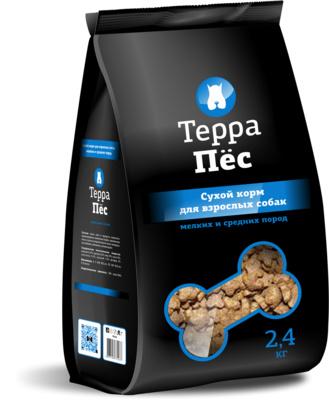 ТерраПес корм для взрослых собак мелких и средних пород 2,4 кг