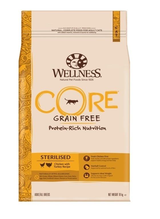 Wellness CORE корм для кастрированных котов и кошек с курицой и индейкой 10 кг