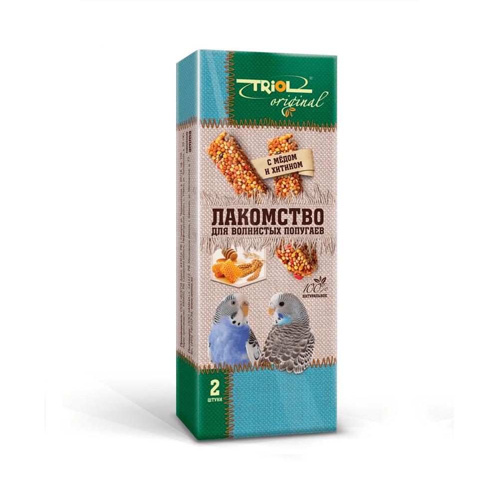 Лакомство для волнистых попугаев палочки с мёдом и хитином TRiOL original 2шт,83г