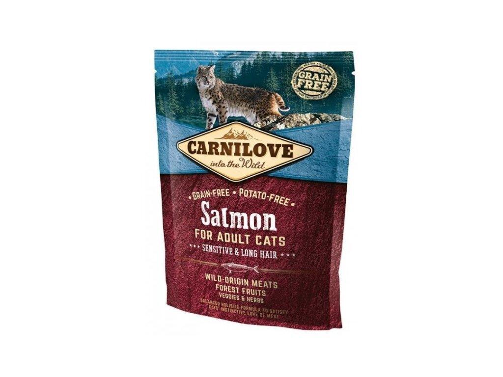 Carnilove 400г Salmon for Adult Cats – Sensitive & Long Hair дк лосось