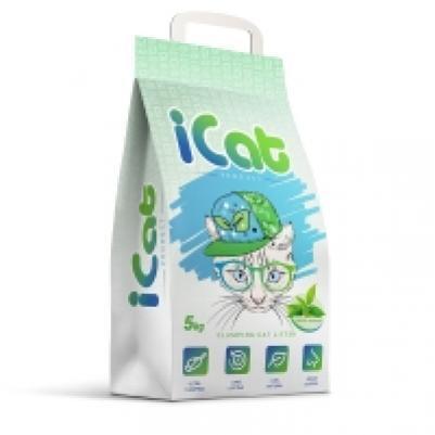 iCat комкующийся наполнитель для кошачьих туалетов, с ароматом зеленого сада 5 кг