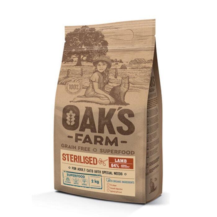 Oaks Farm GF сухой корм для стерилизованных кошек, ягненок 2 кг