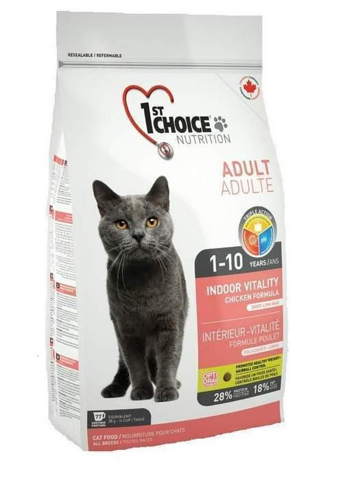 1st Choice корм для взрослых кошек всех пород, живущих дома, курица 10 кг