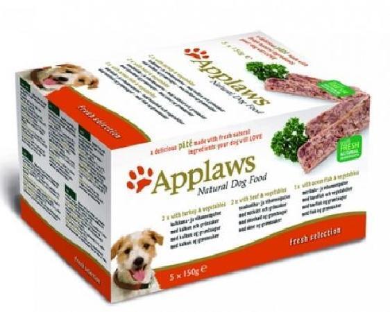 Applaws Набор для Собак Индейка, Говядина, Океаническая рыба, 5шт.*150г (Dog Pate MP Fresh Selection-  Turkey, beef, ocean fish) 6257CE-A, 0,750 кг, 10298