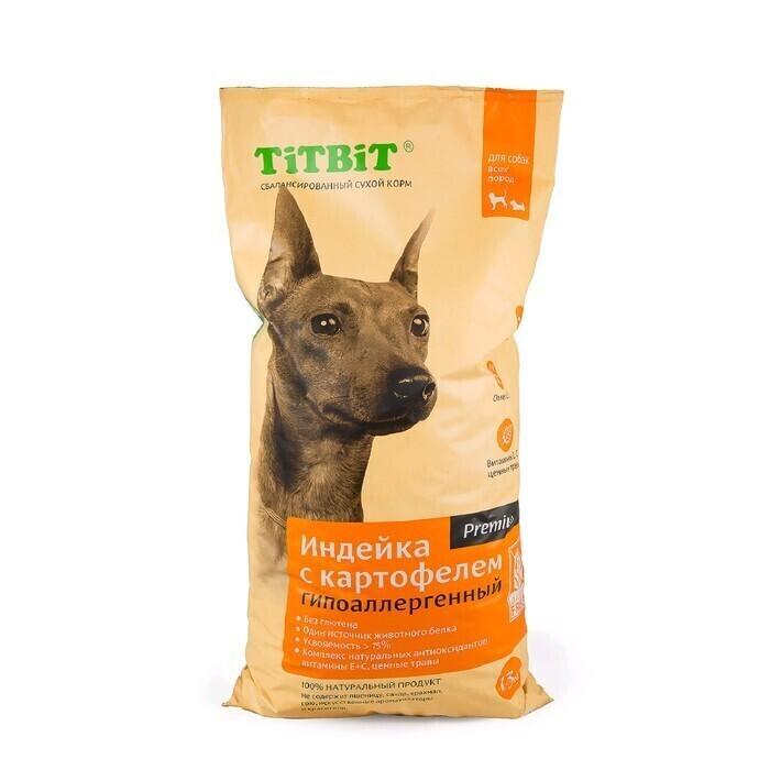 TiTBiT Сухой корм для собак всех пород  гипоаллергенный  индейка с картофелем (9123), 13,000 кг, 40911