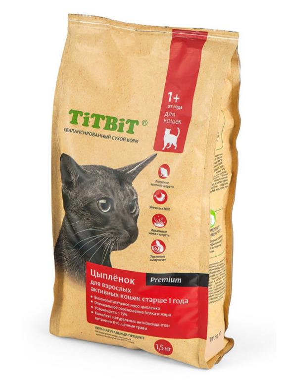 TiTBiT Сухой корм для активных кошек с цыпленком (9192), 1,500 кг, 25478