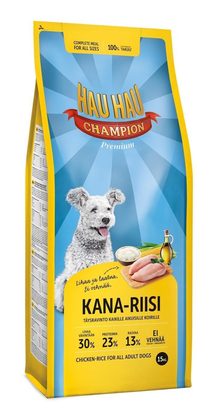 Hau-Hau Champion Chicken- Rice Adult dog 15кг  корм для собак всех пород курица с рисом 124
