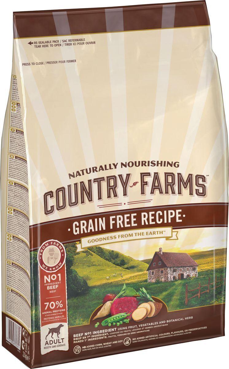 Country Farms корм для взрослых собак всех пород, беззерновой, говядина 2,5 кг