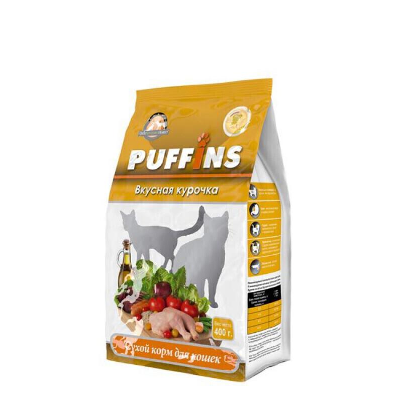 Puffins сухой корм дкошек 400гр  Вкусная курочка 118