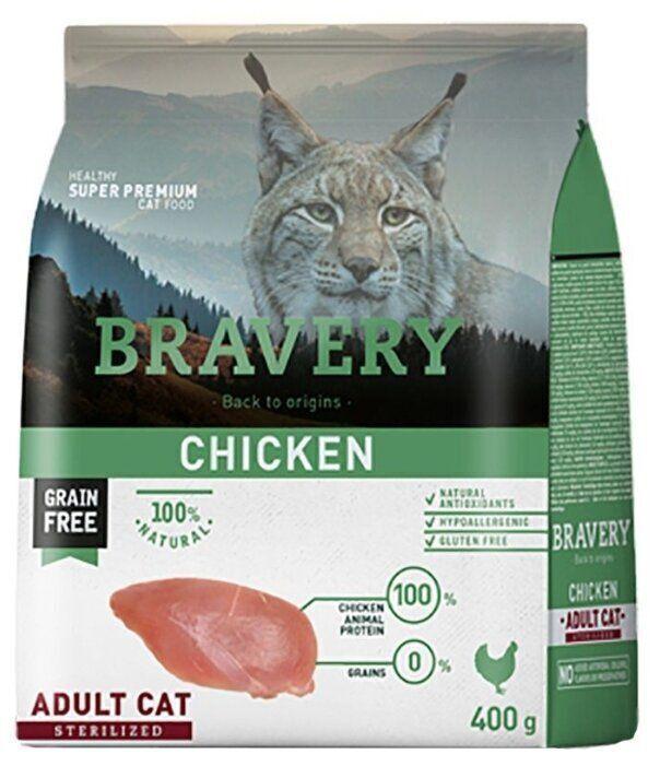 Bravery cat chicken sterilized корм для Стерилизованных кошек Курица 400гр