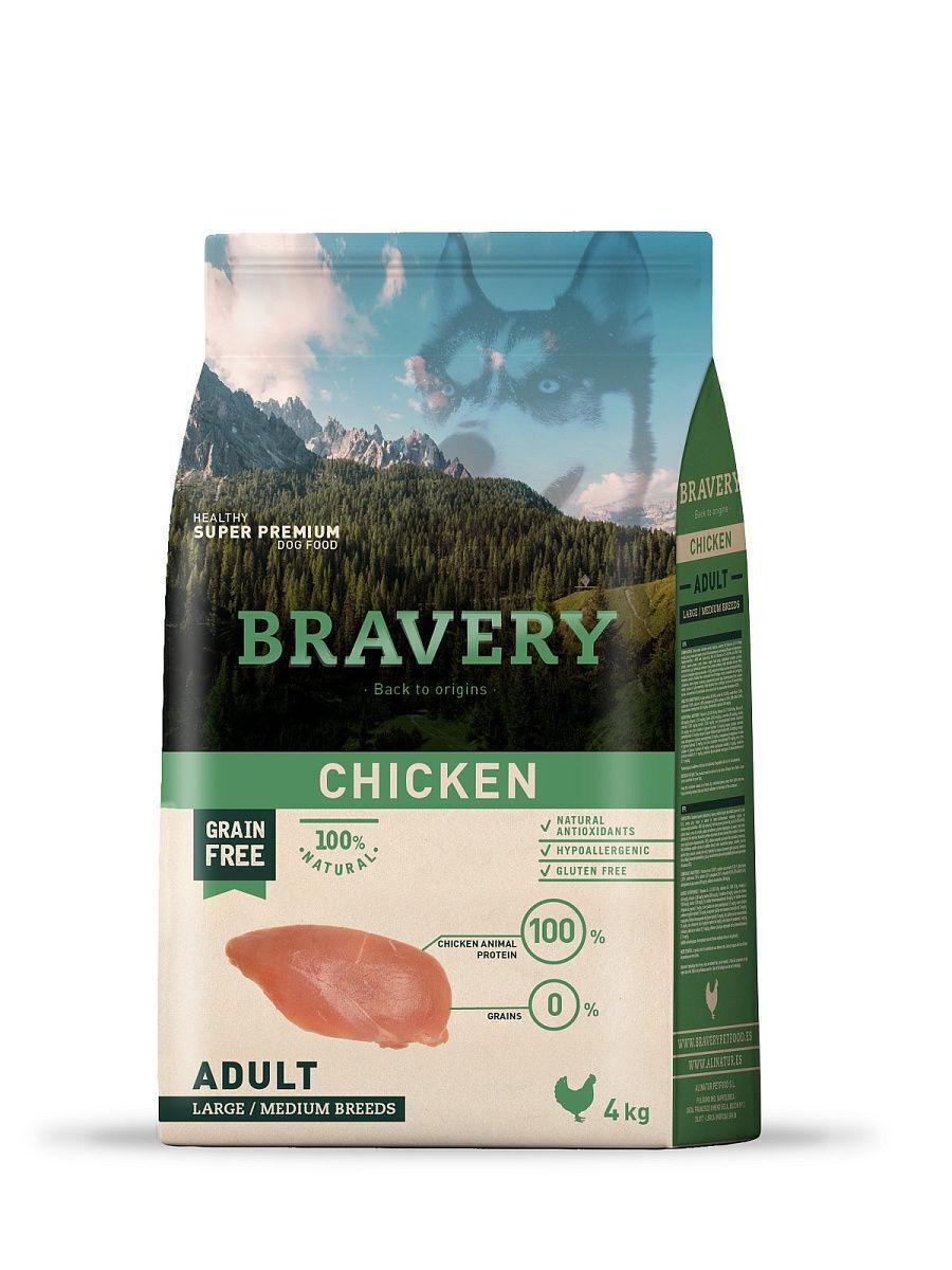 Bravery chicken large/medium breeds корм для собак Крупных и Средних пород Курица 4кг