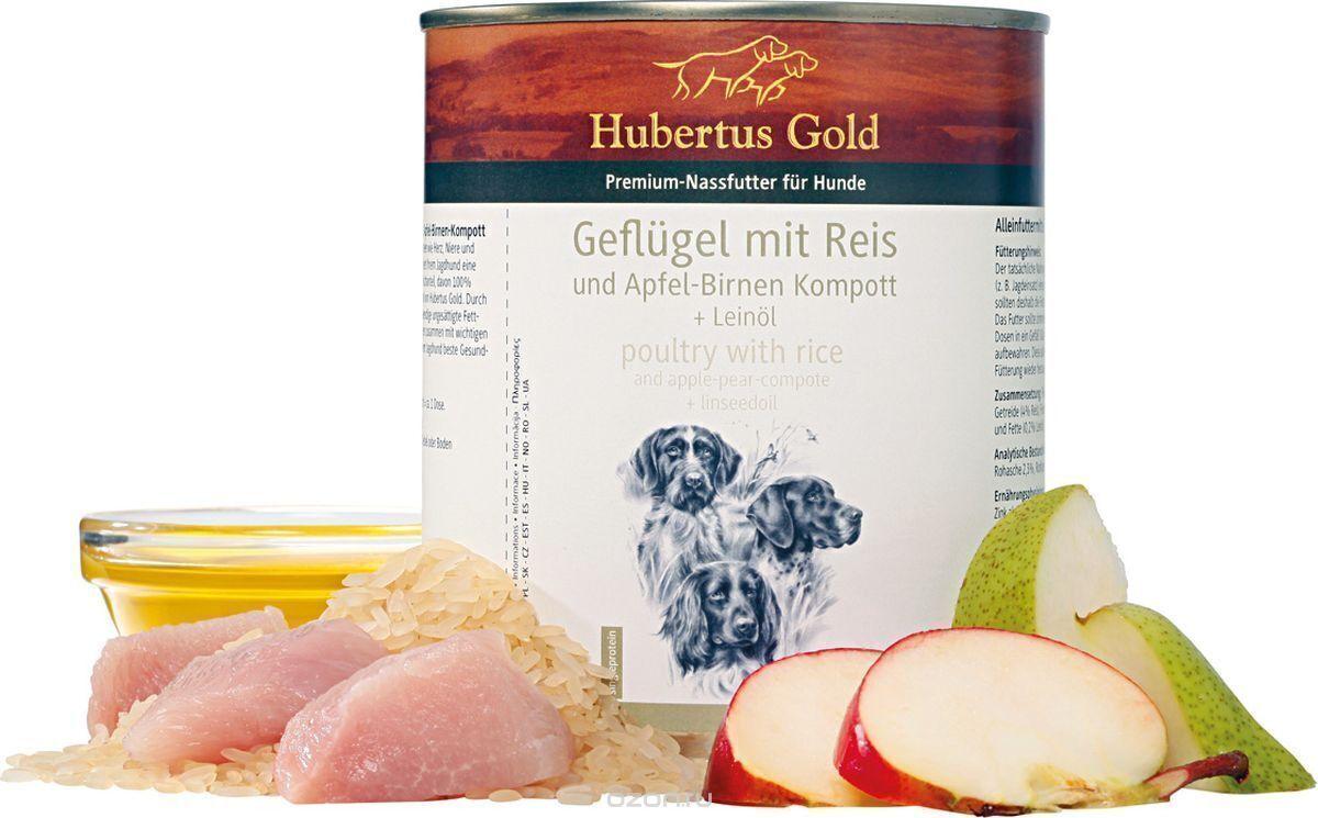 конс. Hubertus Gold® мясо птицы с рисом, яблоками и грушей 800 гр 16