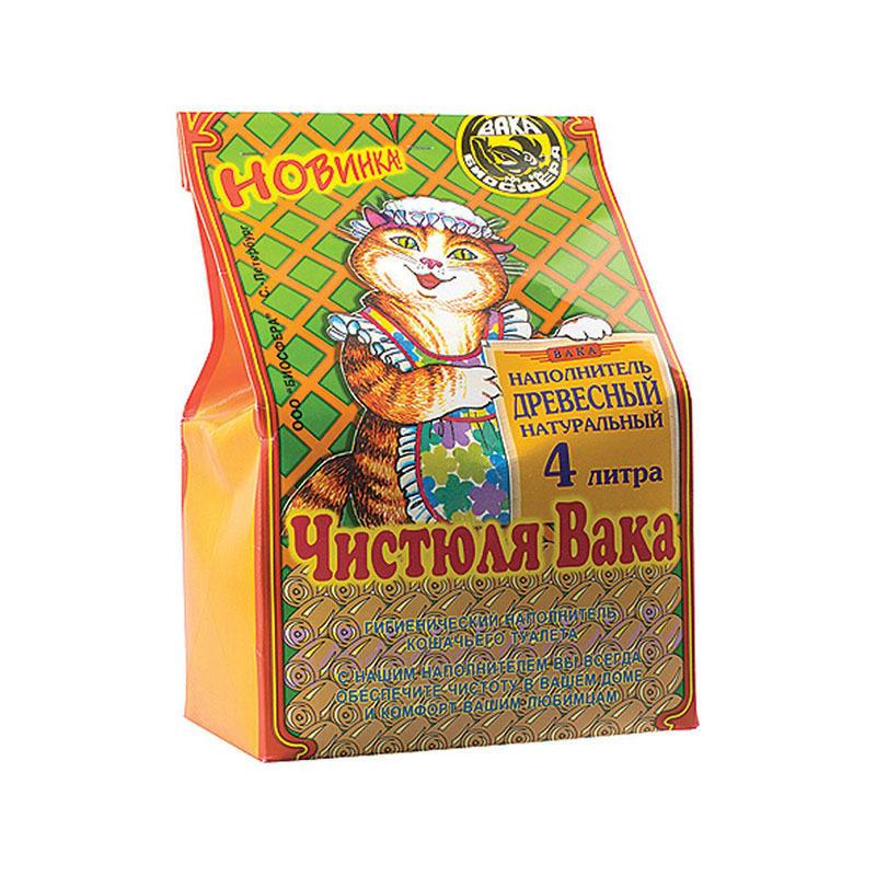 Наполнитель Чистюля ВАКА Древесный для кошек  4л бумажный пакет(14)