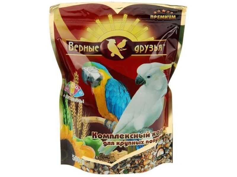 Корм Верные друзья дкрупных попугаев 500гр 110
