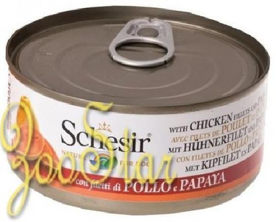 Schesir влажный корм для взрослых собак всех пород, цыпленок и папайя 150 гр