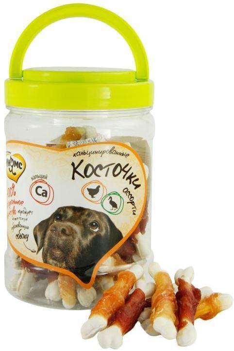 Мнямс лакомство для взрослых собак всех пород, кальцинированные косточки с куриным и утиным мясом 340 гр