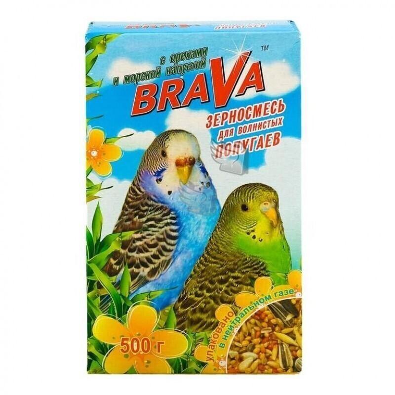 Брава 27521 Корм дволнистых попугаев Орех+морская капуста 500г