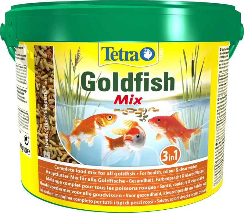 Корм для золотых рыб Tetra Pond Goldfish Mix 10 л, кормовая смесь: хлопья, палочки, гаммарус