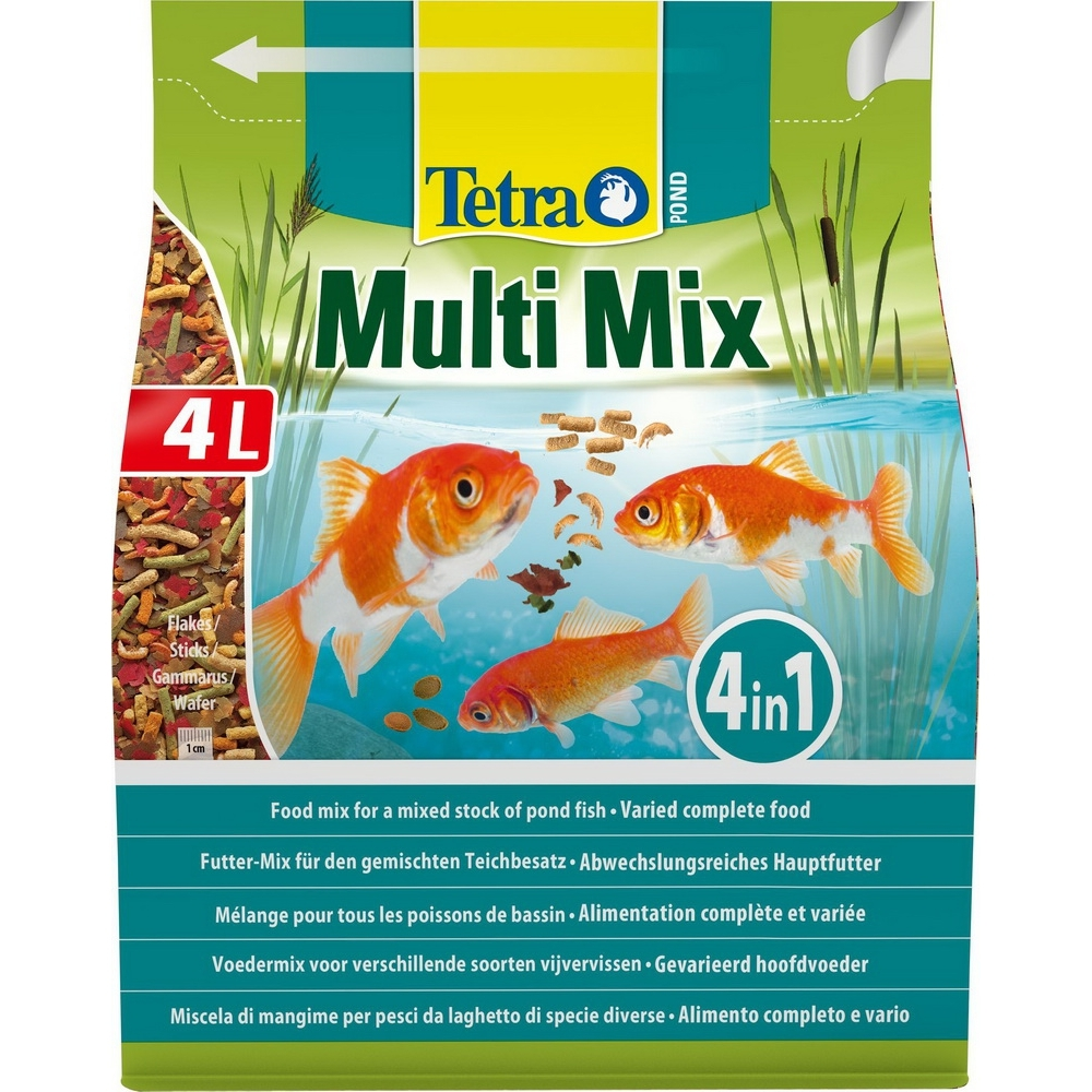 Корм для прудовых рыб Tetra Pond Multi Mix 4 л, кормовая смесь: хлопья, палочки, таблетки, гаммарус