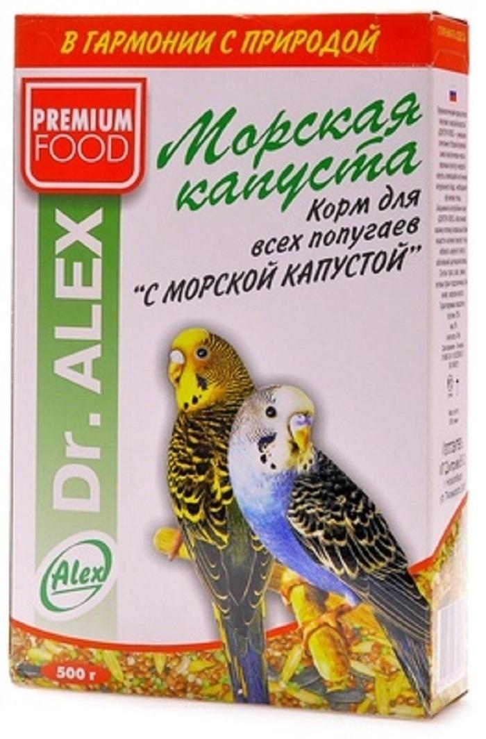 Dr.Alex ВИА Корм для волнистых попугаев Морская капуста, 0,500 кг, 45176