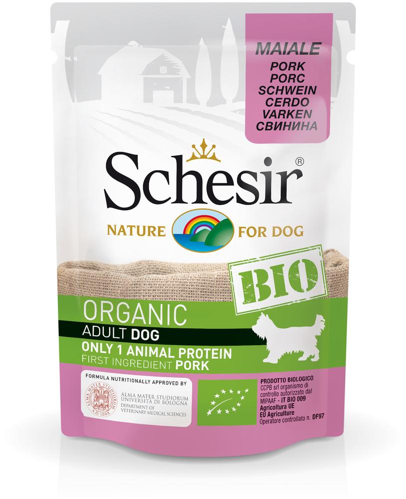 [132.2.С7430]  Schesir Bio консервы для собак, свинина 85г (уп-16шт), 132.2.С7430