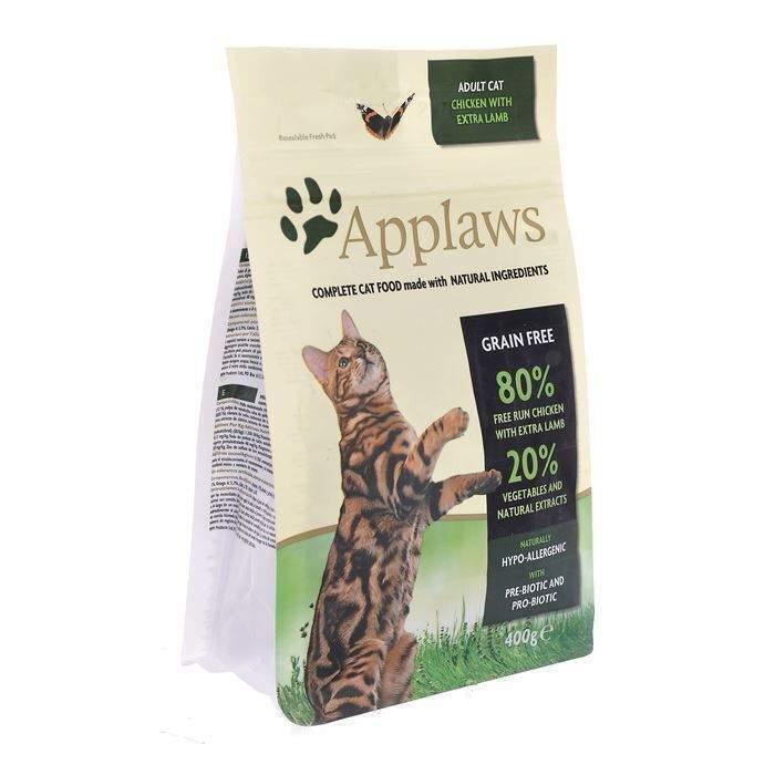 Applaws корм для взрослых кошек всех пород, беззерновой, курица и ягненок 7,5 кг