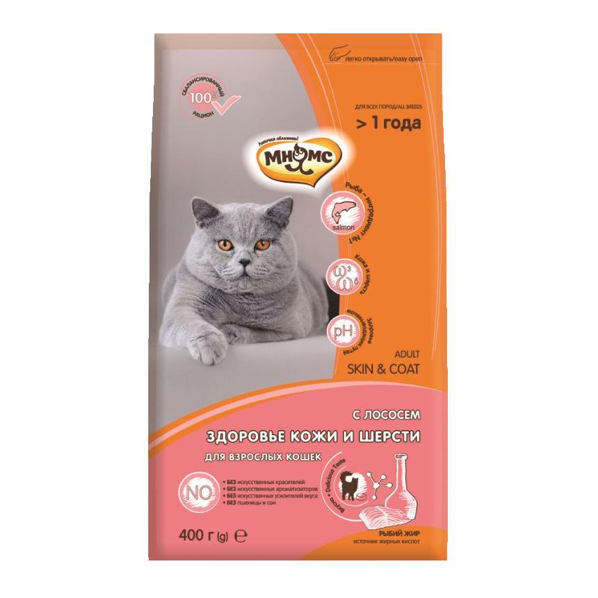 Мнямс корм для взрослых кошек всех пород, для кожи и шерсти, лосось и тунец 400 гр