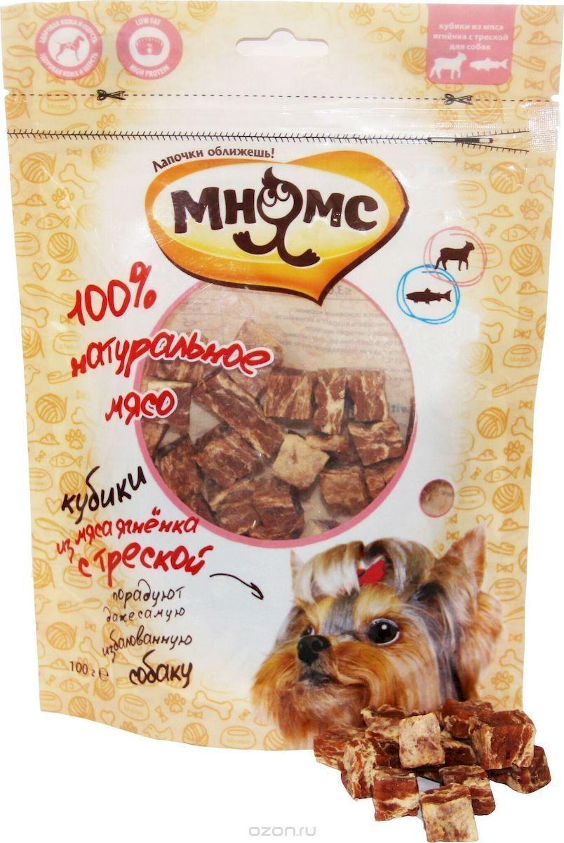 Мнямс лакомство для взрослых собак всех пород, кубики из мяса ягненка с треской 100 гр