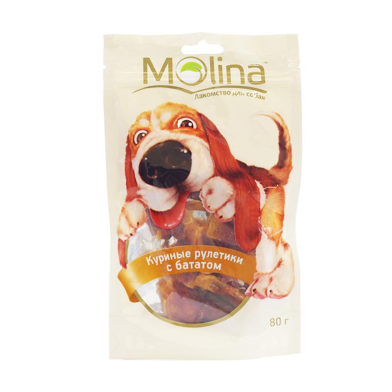 Molina лакомство для собак, куриные рулетики с бататом 80 гр