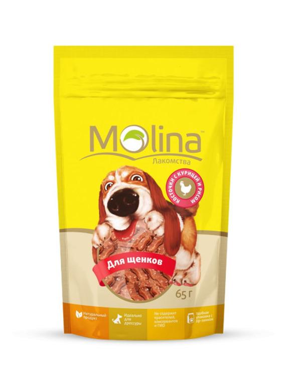 Molina лакомство для щенков, косточки с курицей и рисом 65 гр