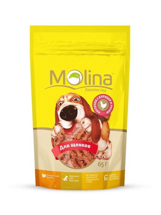 Molina лакомство для щенков, куриное филе на косточке 65 гр