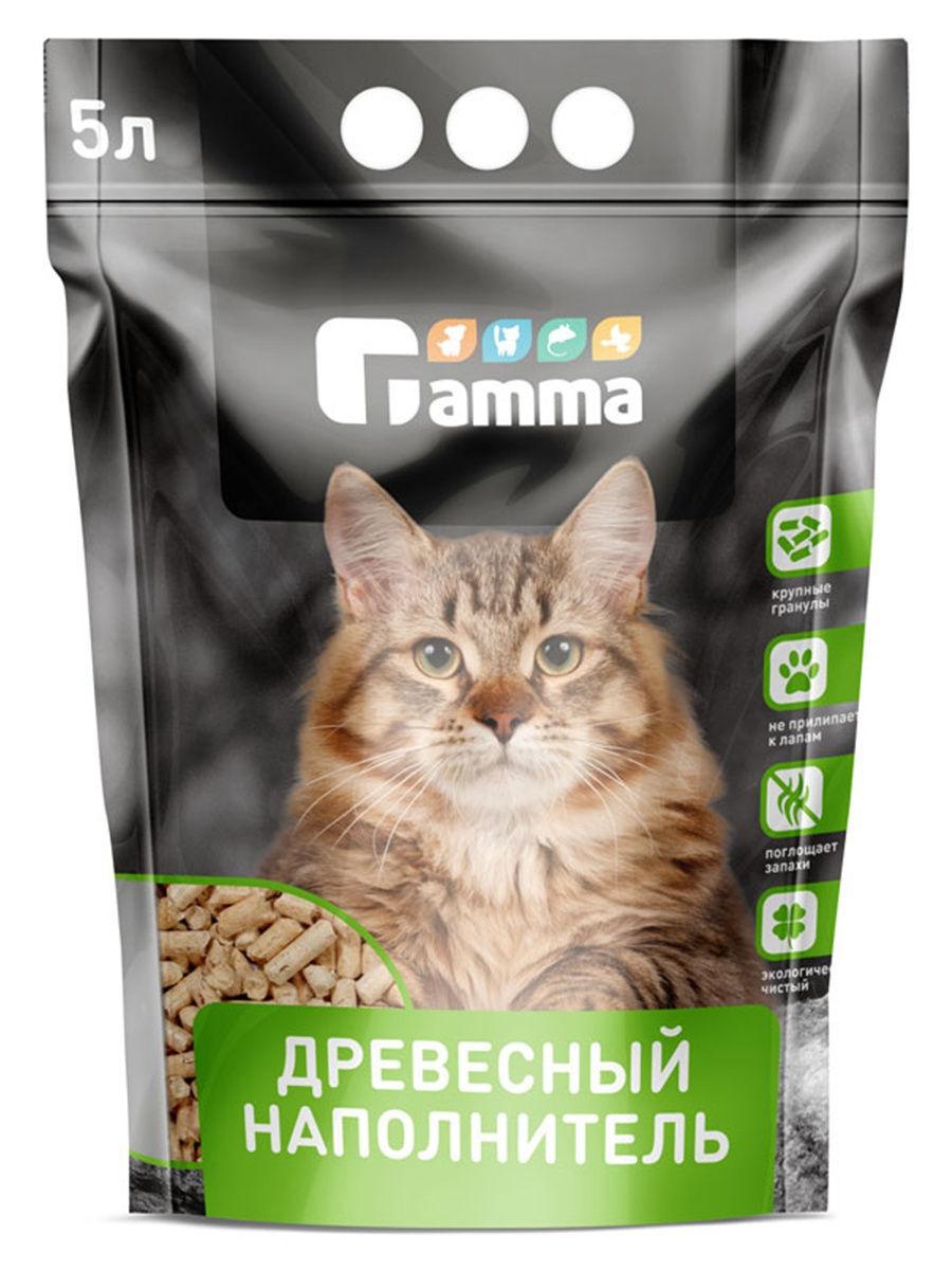 Gamma древесный впитывающий наполнитель для кошачьего туалета (крупные гранулы) 5 л