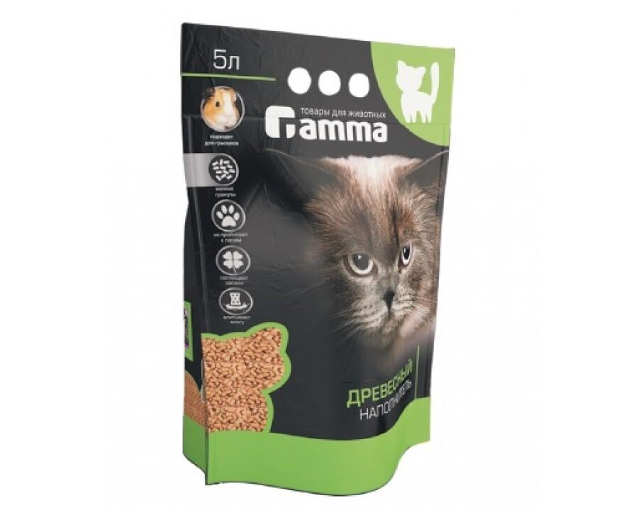 Gamma древесный впитывающий наполнитель для кошачьего туалета (мелкие гранулы) 5 л