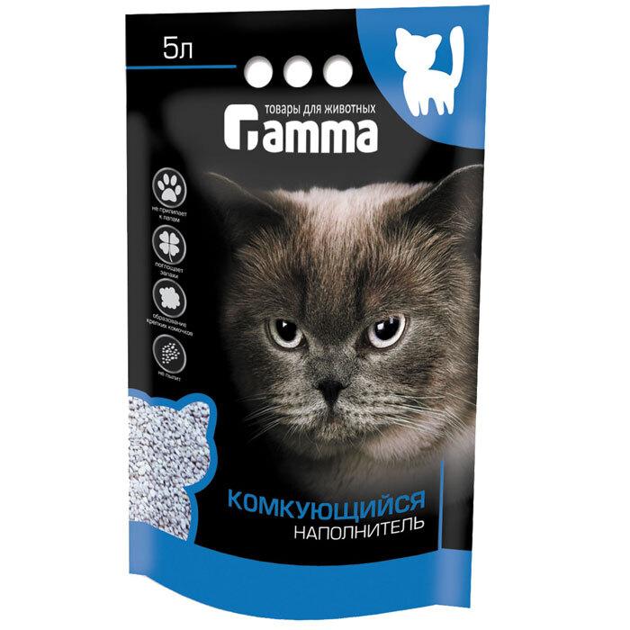 Gamma бентонитовый комкующийся наполнитель для кошачьего туалета 5 л