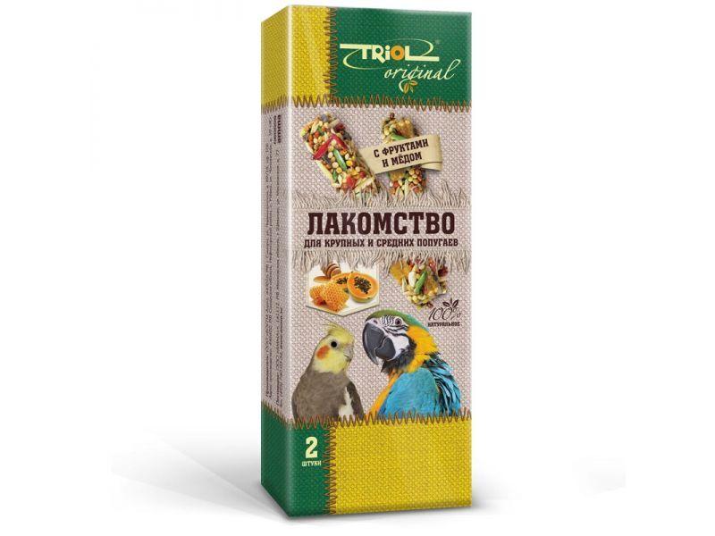 Лакомство для крупных и средних попугаев палочки с фруктами и мёдом TRiOL original  2шт,83г