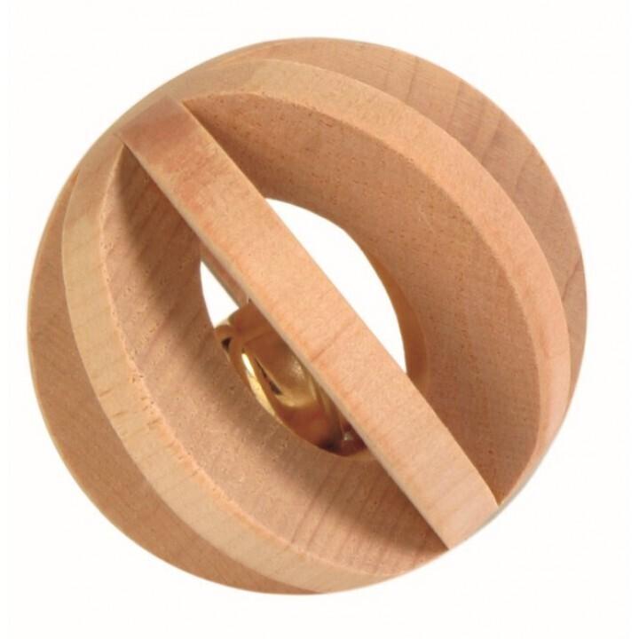 6187-Игрушка для грызунов Шар с колокольчиком, o 6 см, дерево