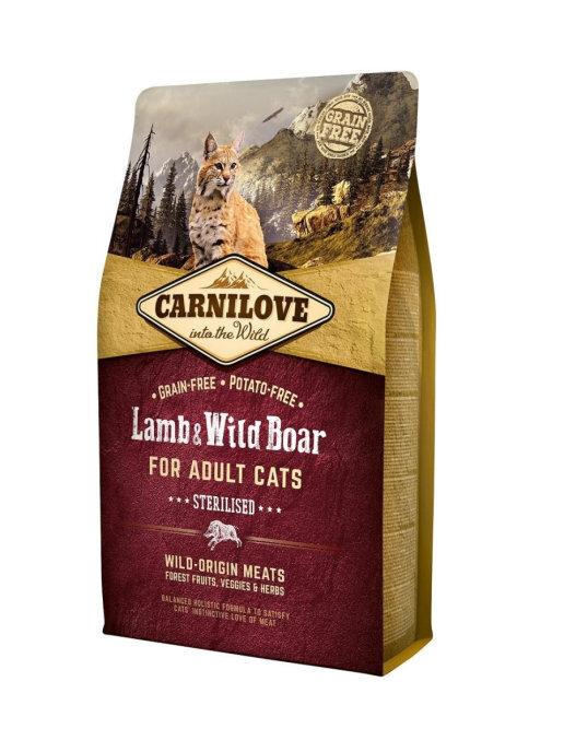 Carnilove 2кг Lamb & Wild Boar for Adult Cats – Sterilised дкастрир ягненок и дик.кабан